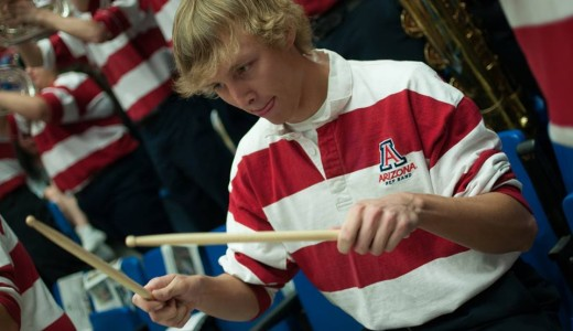 Pep Band drummer in action